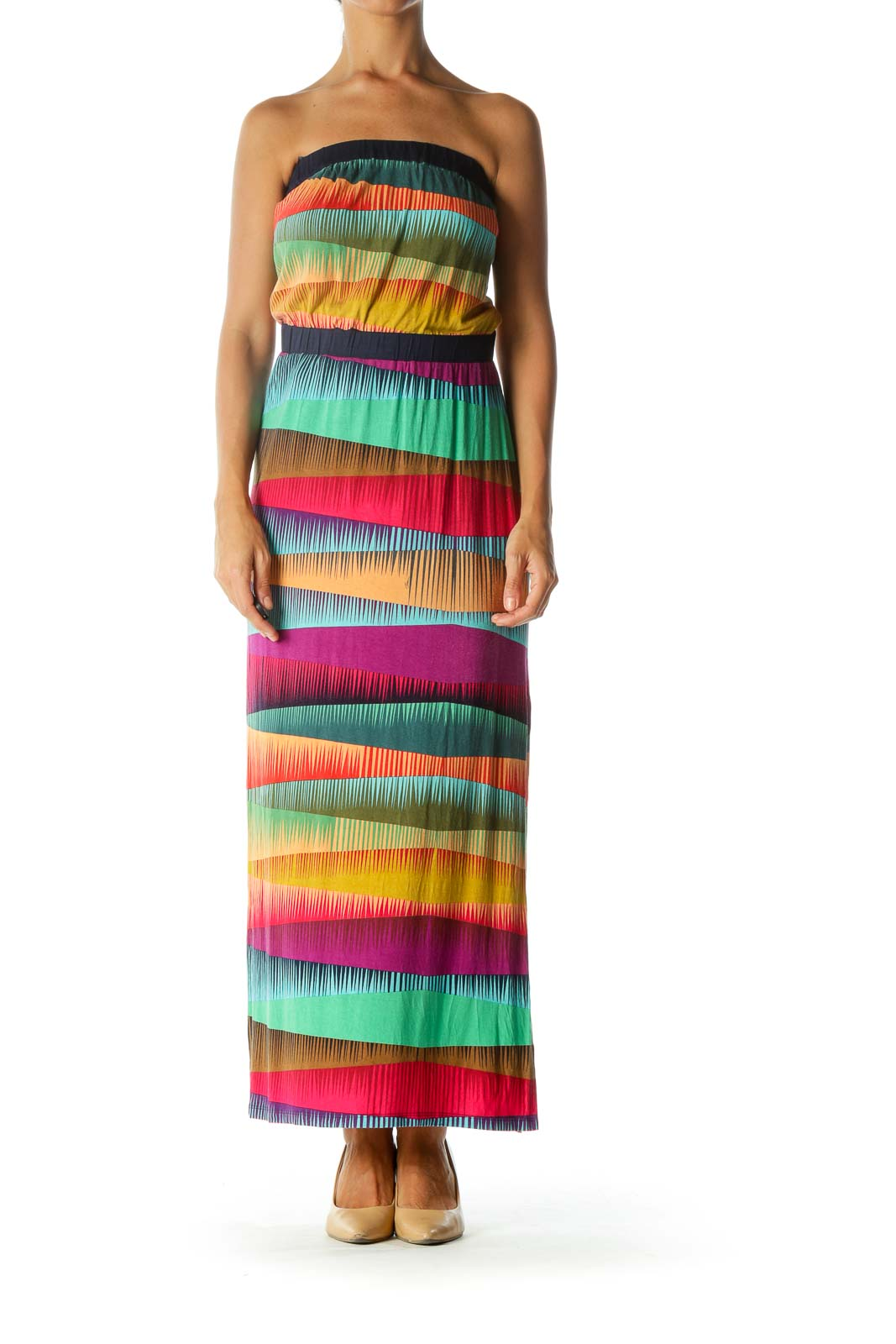 Multicolor Strapless Print Elastic Band Stretch Maxi Dress