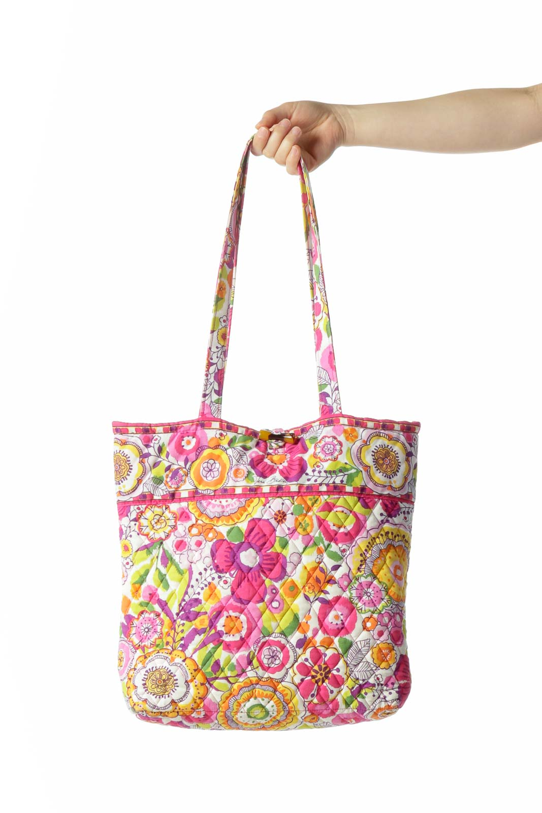 Multicolored Floral-Print Quilted Toggle-Closure Tote