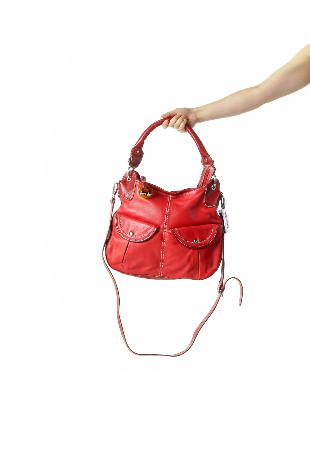 Red Stiched Heavy Leather Shoulder Bag with Crossbody Strap