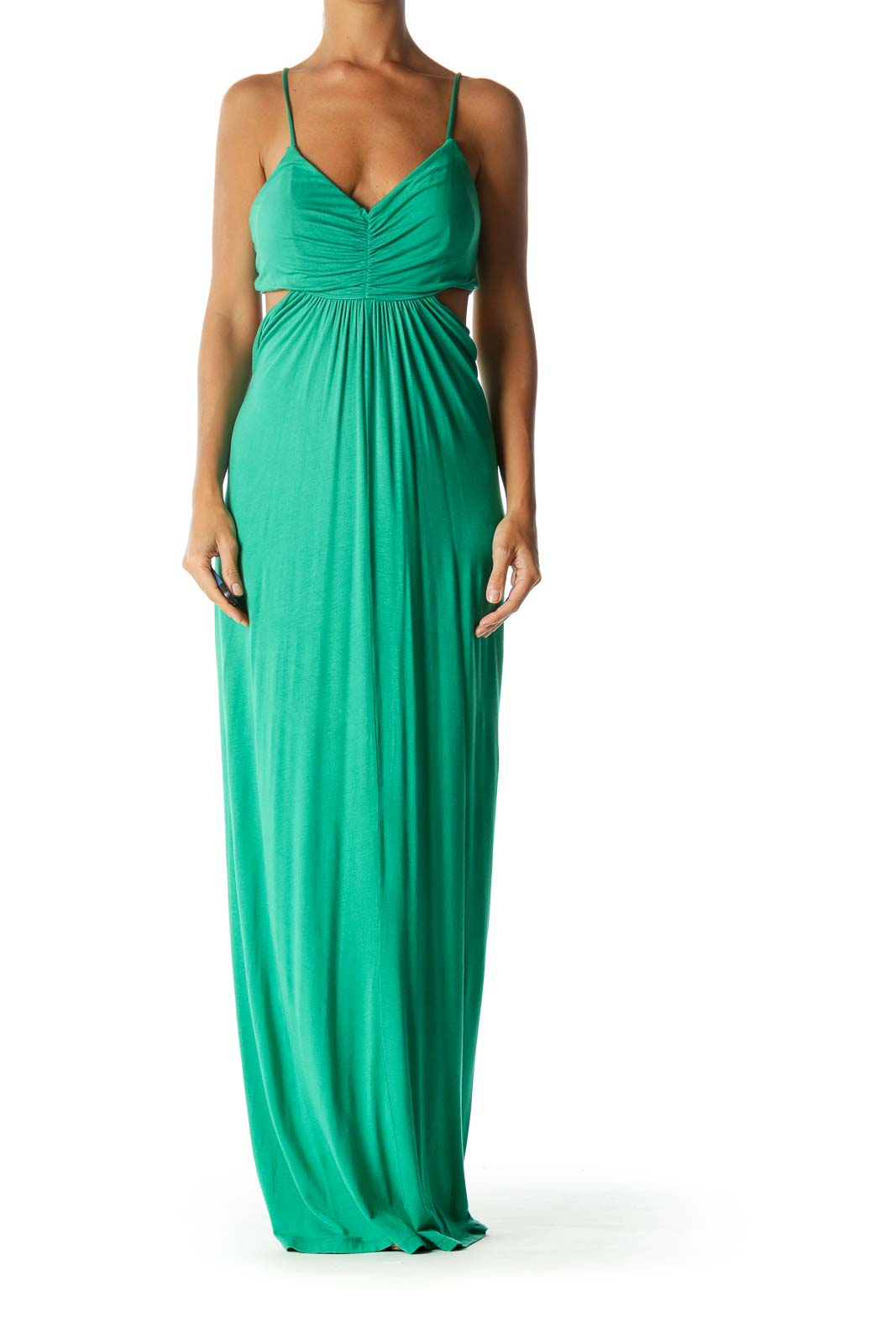 Green V-Neck Cut-Out Ruched Bust Detail Stretch Maxi Dress
