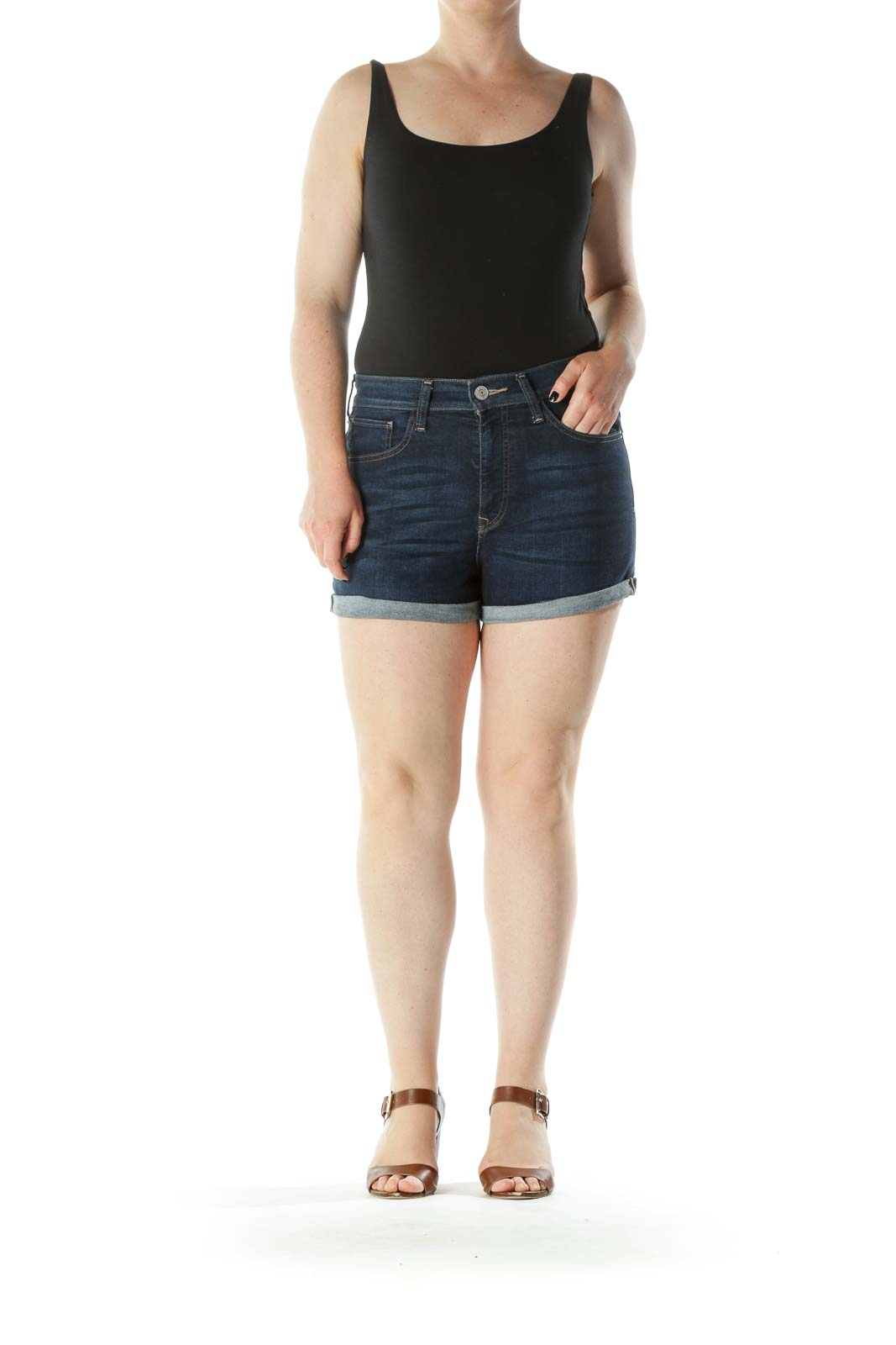 Blue Dark-Wash Pocketed Stretch High-Waisted Denim Shorts