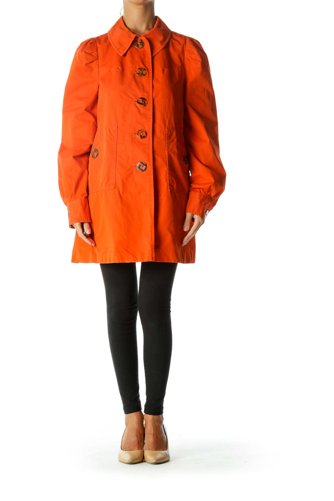 Orange Buttoned Pleated Detailing Pocketed Coat