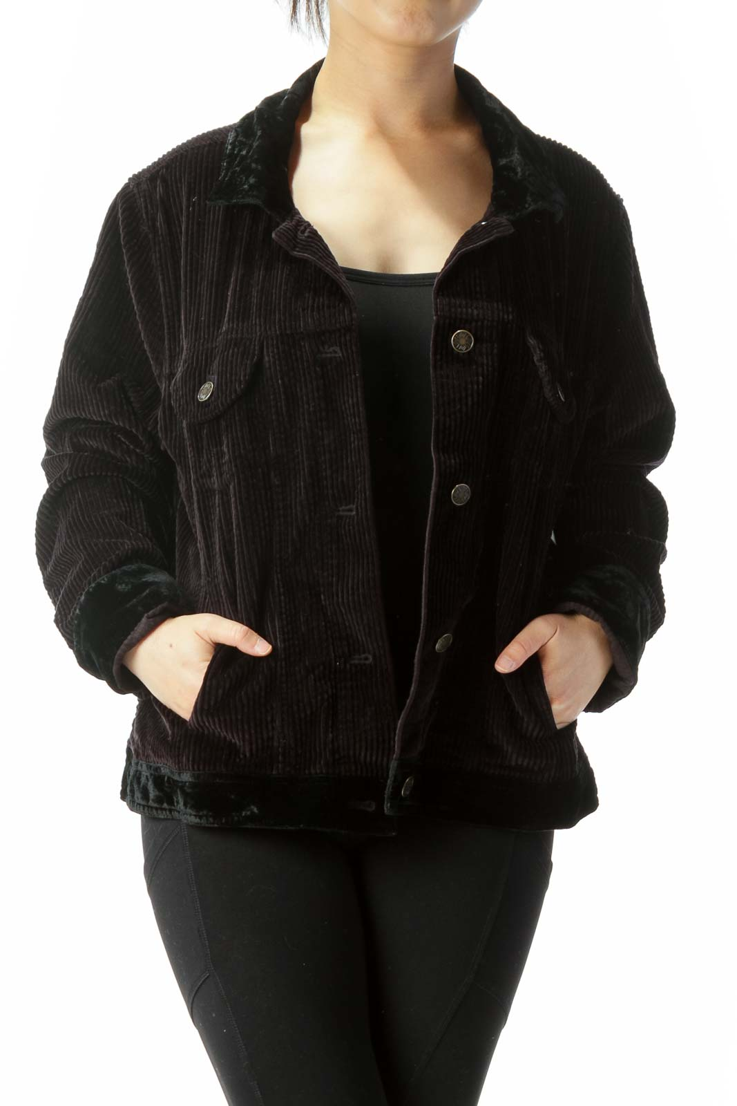 Black Ribbed Textured Buttoned Pocketed Jacket