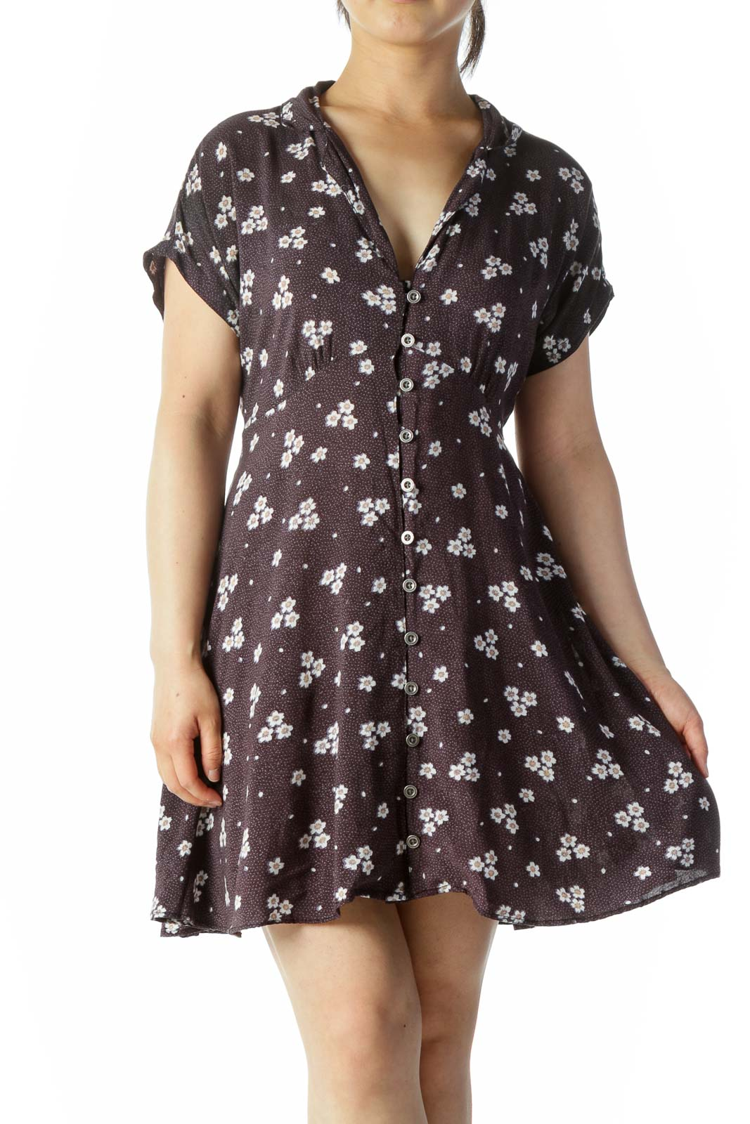 Purple White Floral Print Buttoned Short Sleeve Belted Day Dress