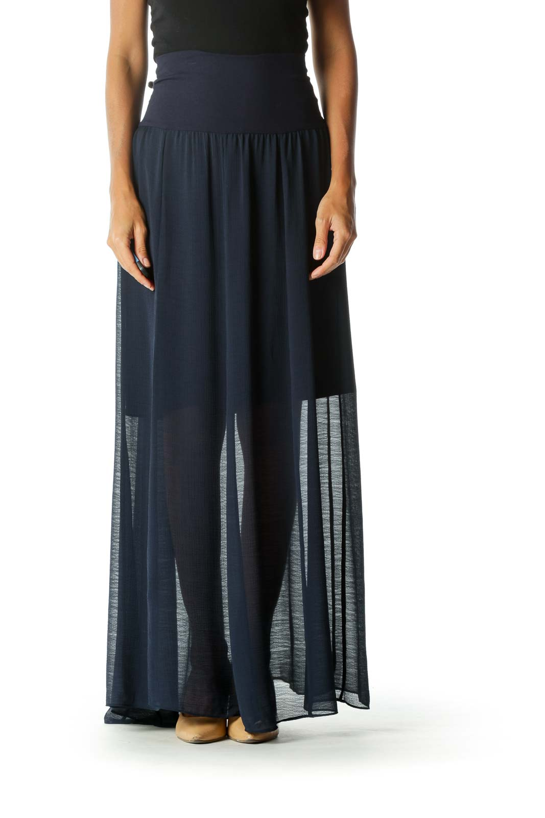 Navy Blue Translucent Stretch Maxi Skirt