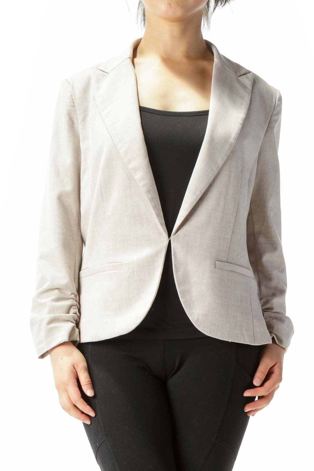 Beige Textured Scrunch Sleeve Accent Hook Closure Blazer