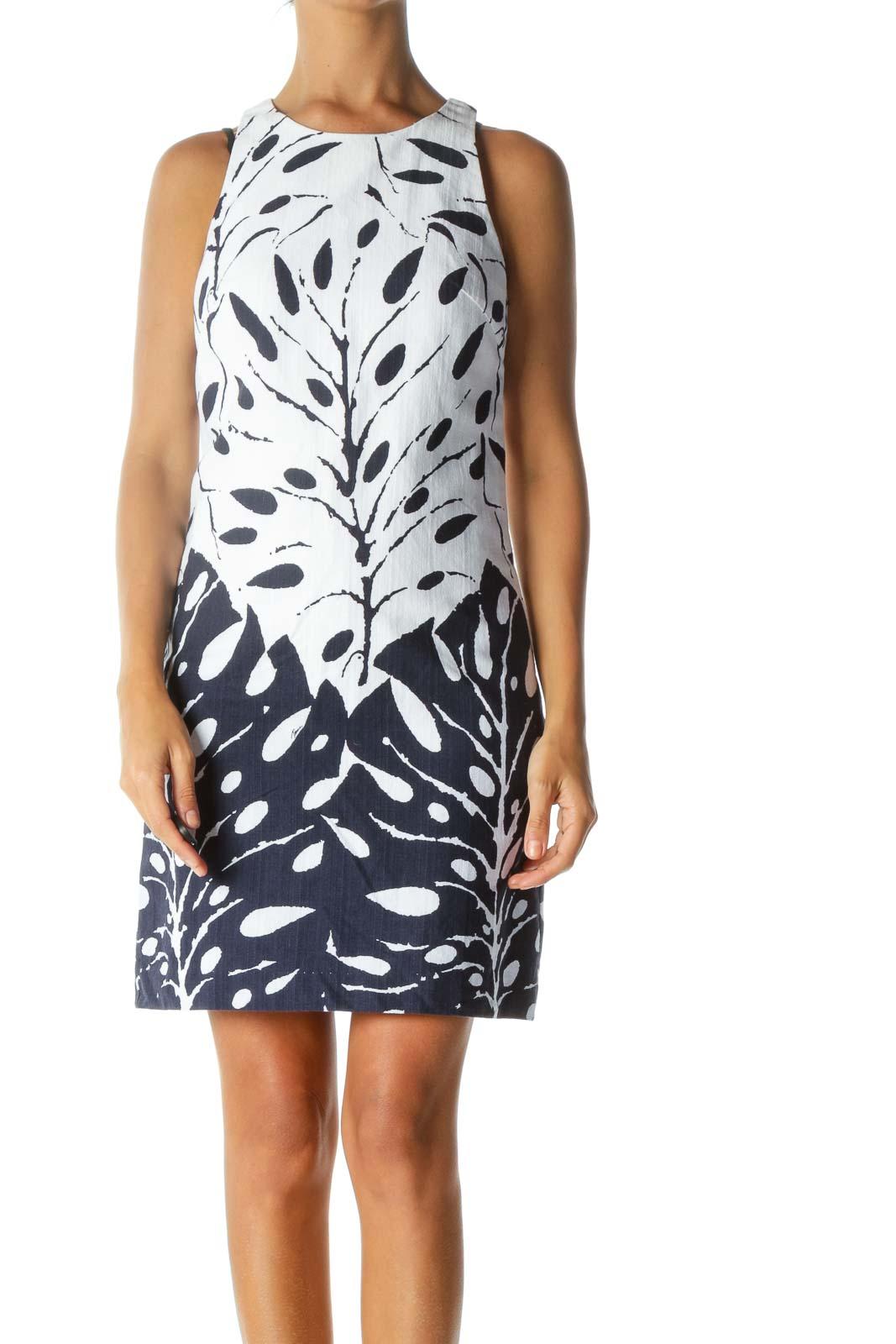 Blue White Print Textured Round Neck Day Dress