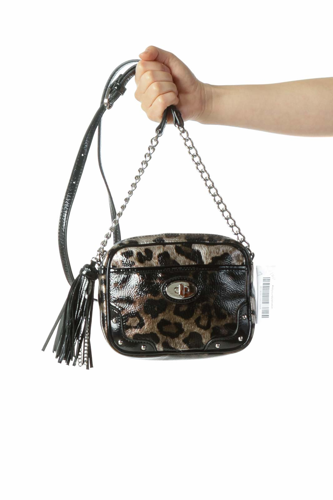 Black Brown Shiny Leopard Print Crossbody Bag with Tassel