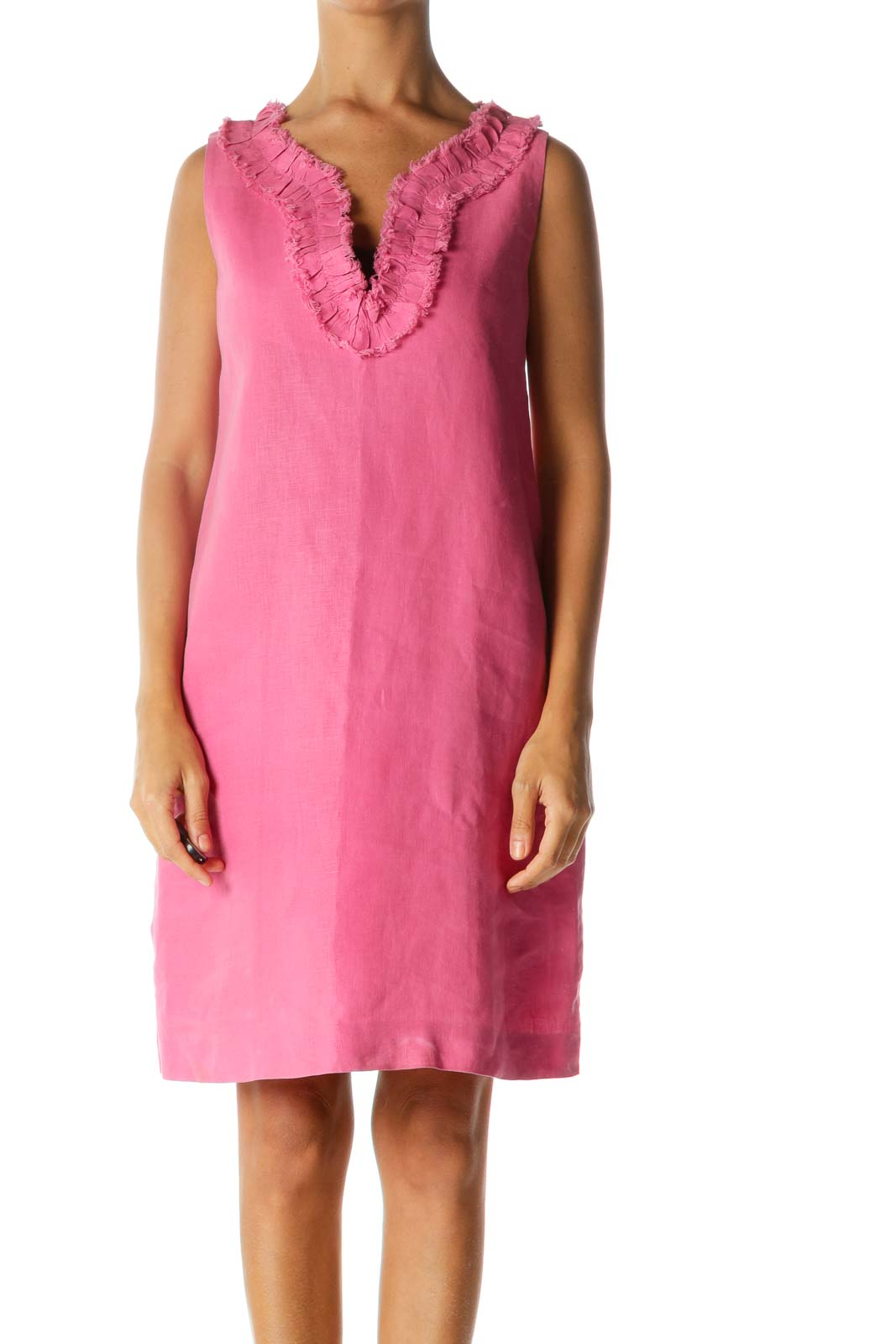 Pink Linen Cotton Ruffled Raw Hem Neckline Accent Dress