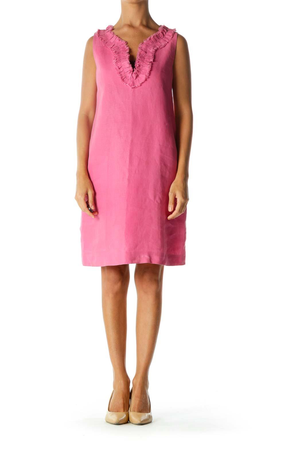 Pink Linen Cotton Ruffled Raw Hem Neckline Accent Dress