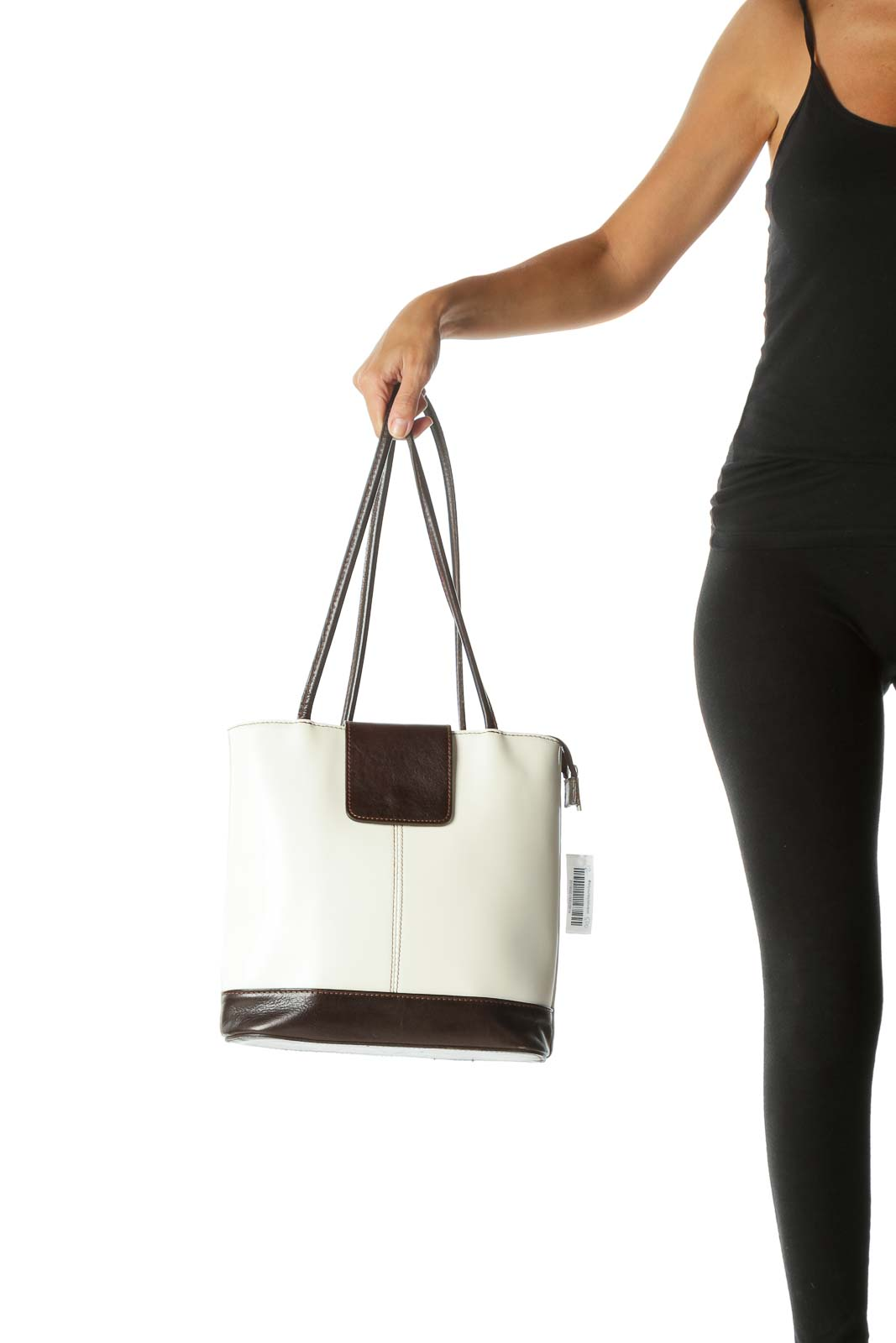 Cream Chocolate Brown Leather Bag with Convertible Straps