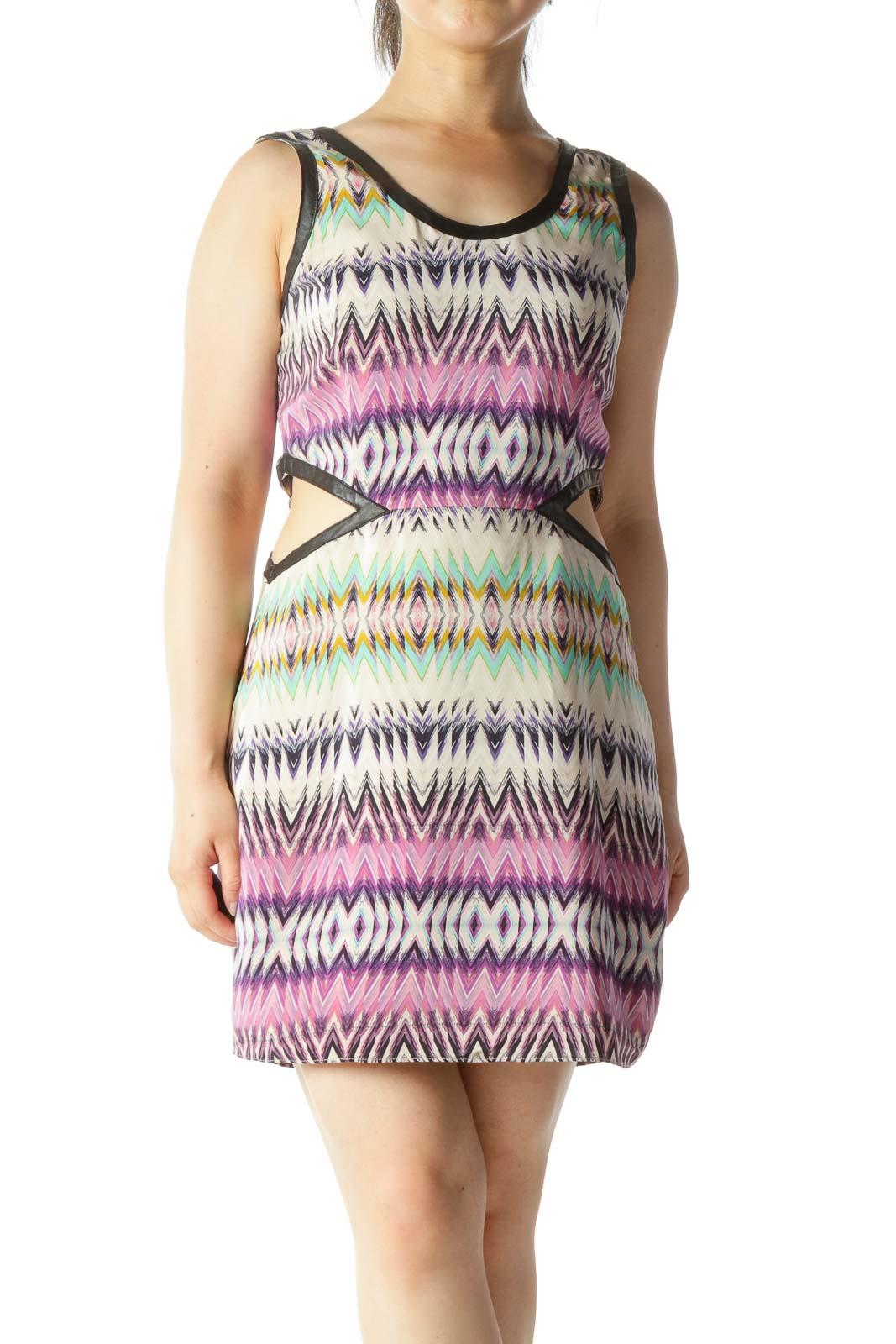 Multicolor Waist Open Cut Out Scoop Neck Dress
