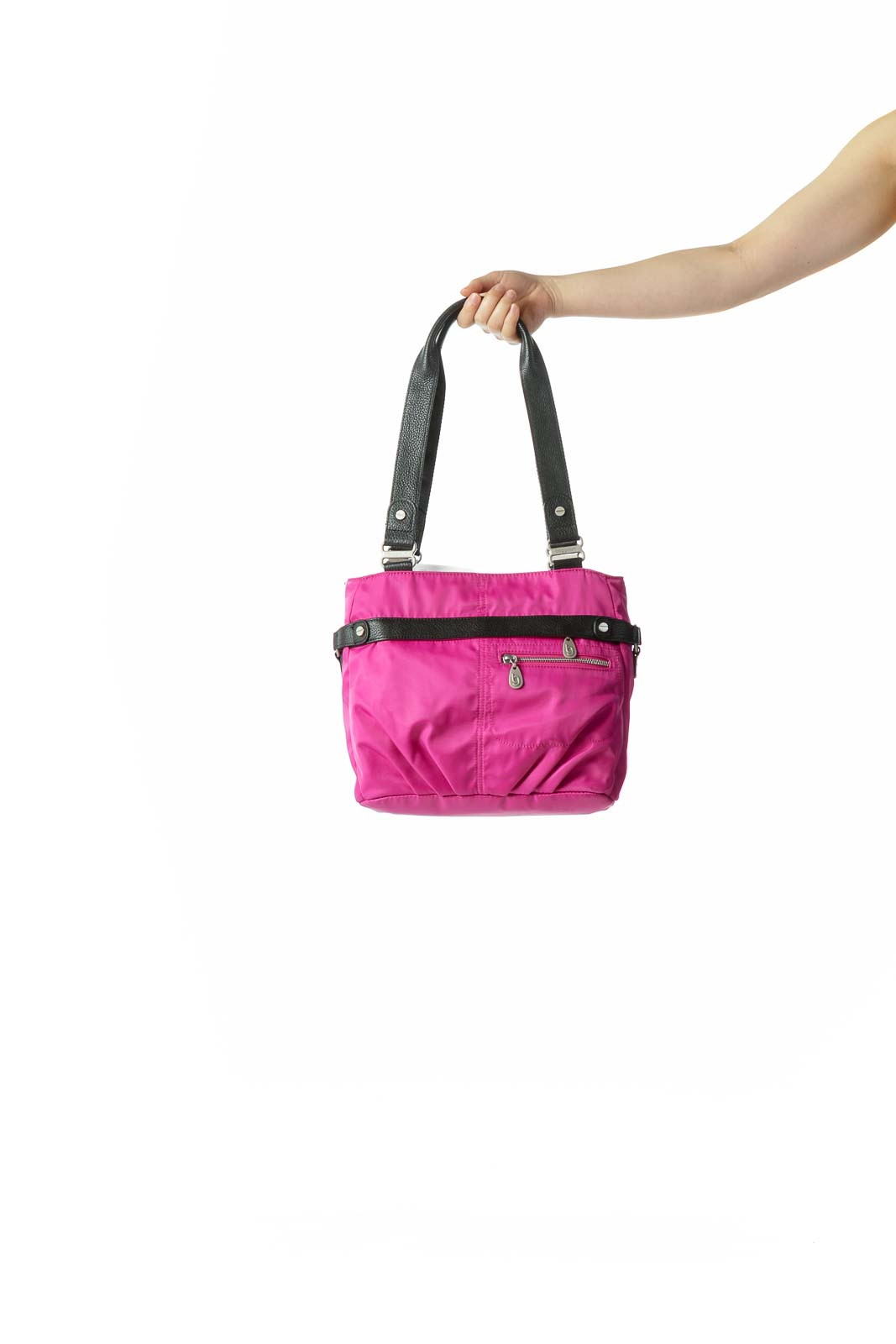 Magenta Pink Black Hardware Zippered Shoulder Bag
