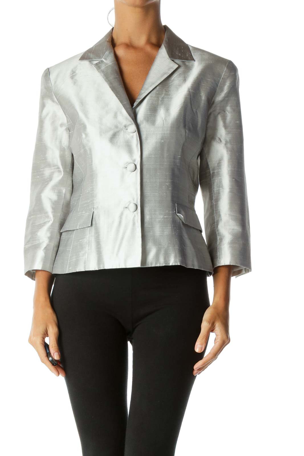 Silver Textured Fabric Buttoned Padded Shoulders Shiny Blazer