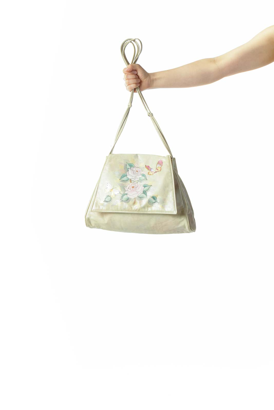 Light Green Floral Vintage Messenger Bag
