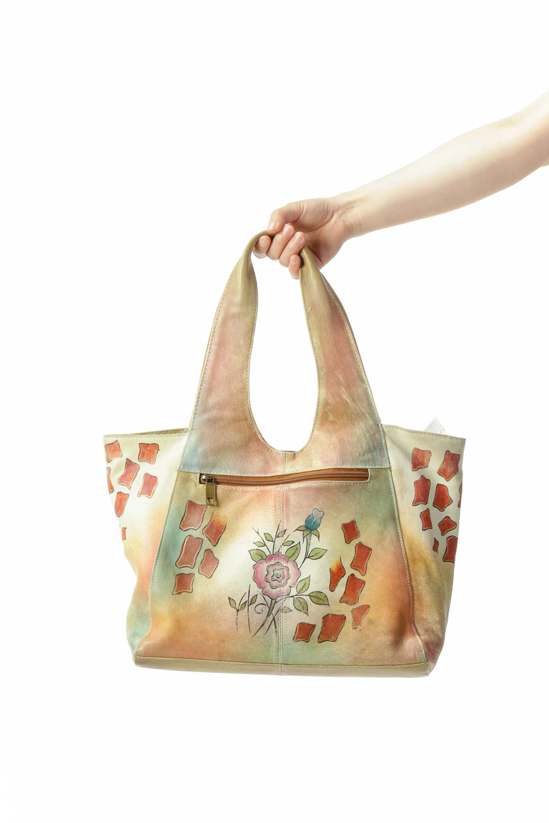 Beige Floral Vintage Leather Tote Bag
