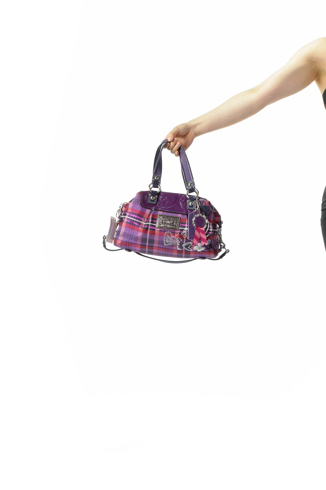 "Purple Pink Blue Silver Plaid Patent Leather ""Poppy"" Brand Writing Three Straps Shoulder Bag"