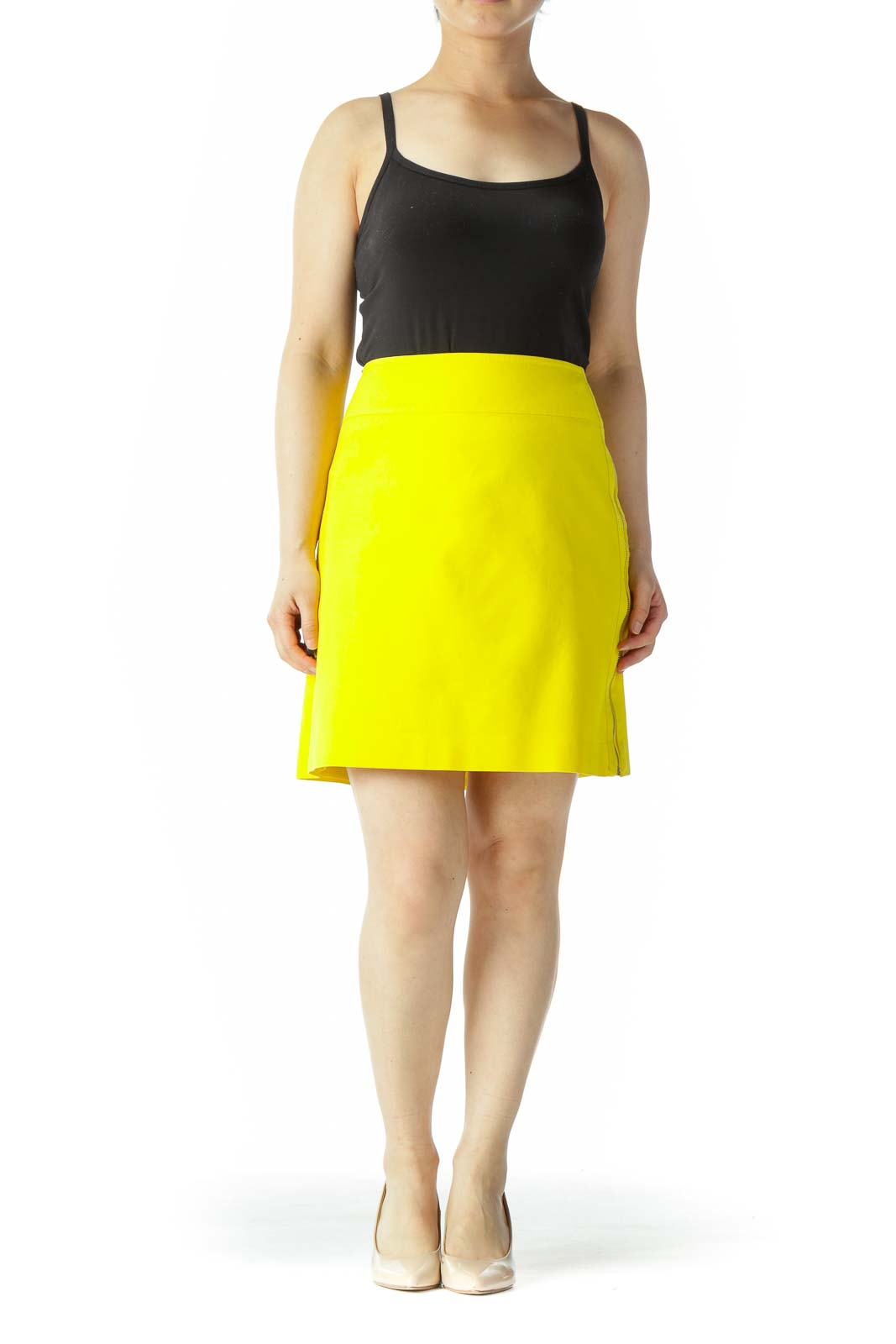 Bright Yellow Textured Side Gold Zipper A-Line Lined Skirt