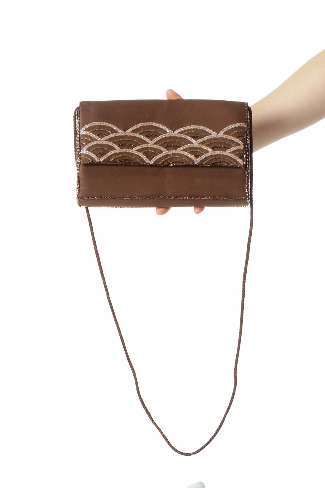 Brown Embroidered Quilted Bag