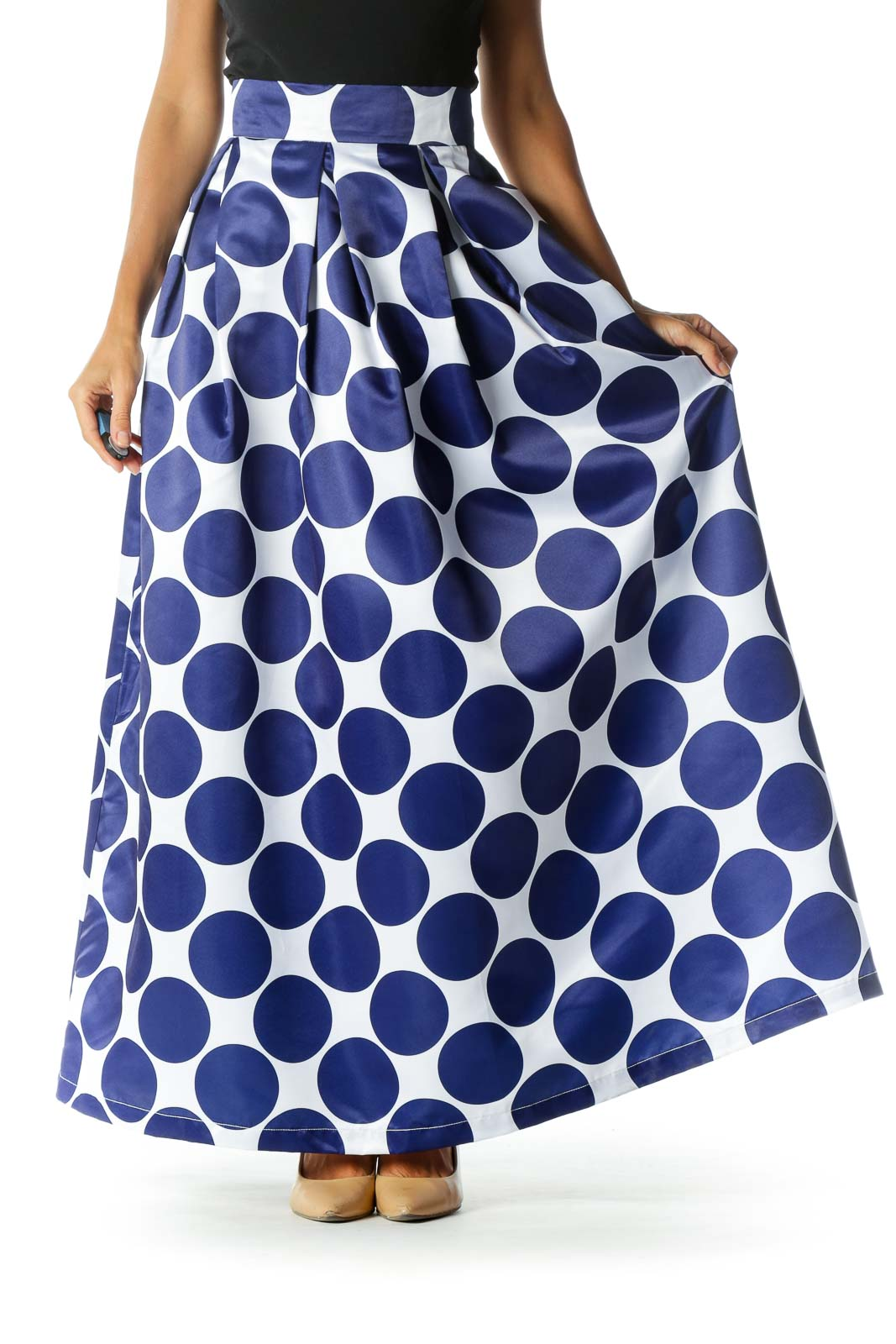 Blue White Circles Print Pleated Pocketed Pouf Maxi Skirt