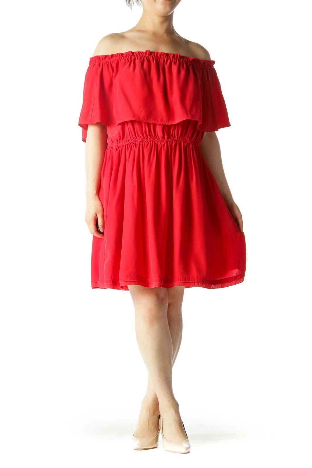 Red 100% Silk Cold Shoulder Elastic Waist Pocketed Day Dress