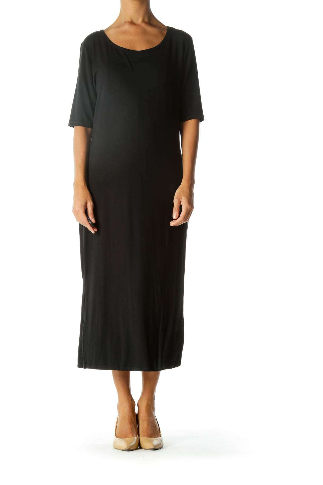 Black Round Neck 3/4 Sleeve Jersey Knit Stretch Midi Dress