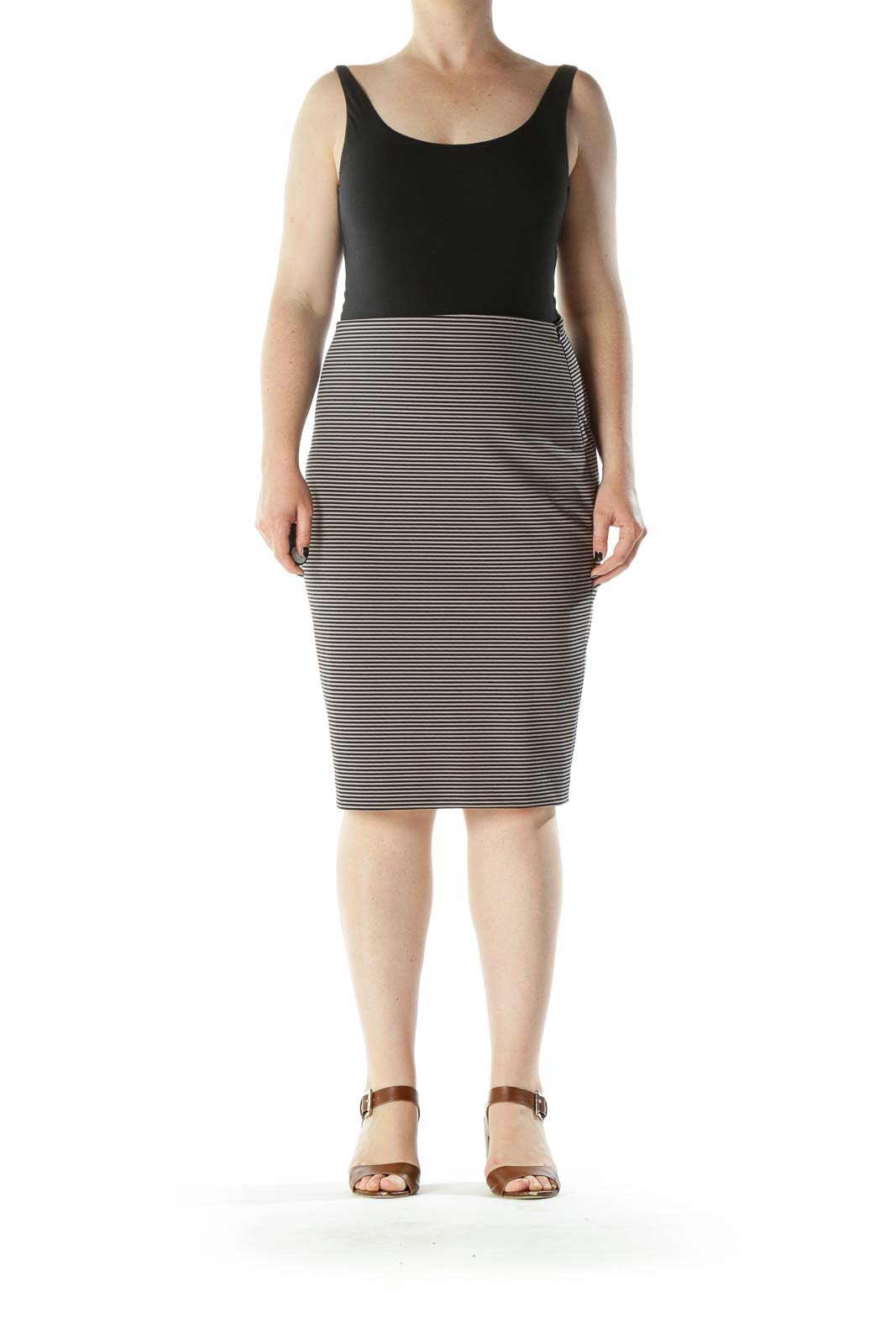 Beige Black Striped Stretch Side Zipper Pencil Skirt