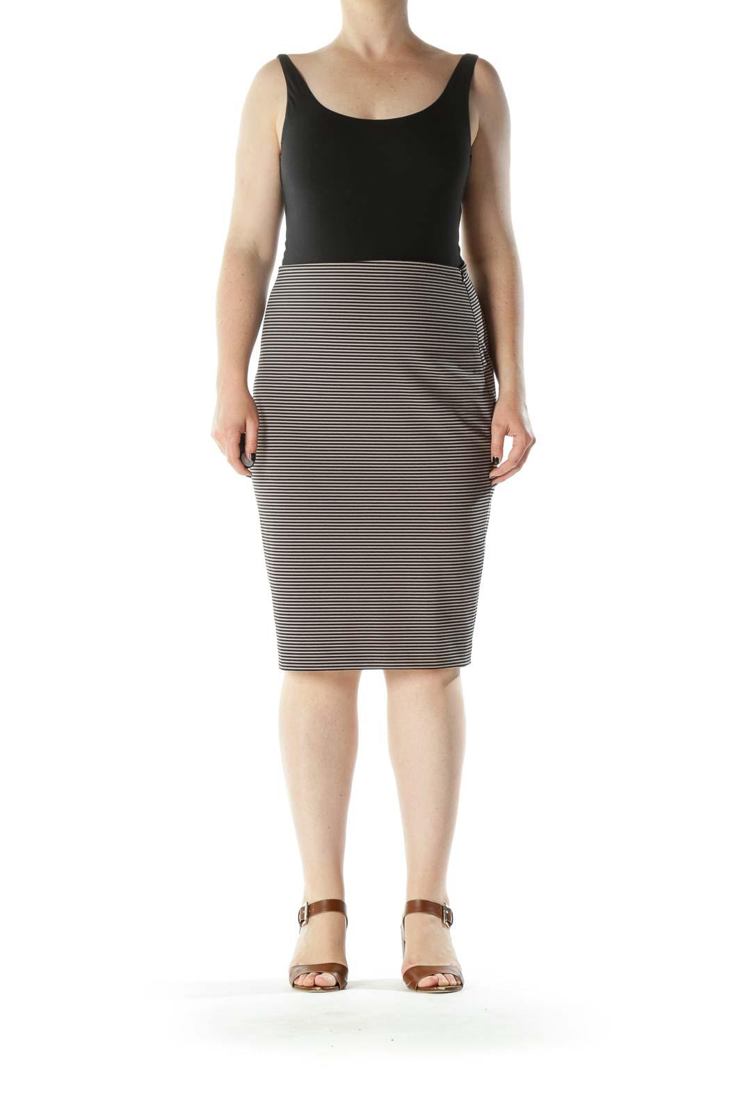 Beige Black Striped Stretch Side Zipper Pencil Skirt