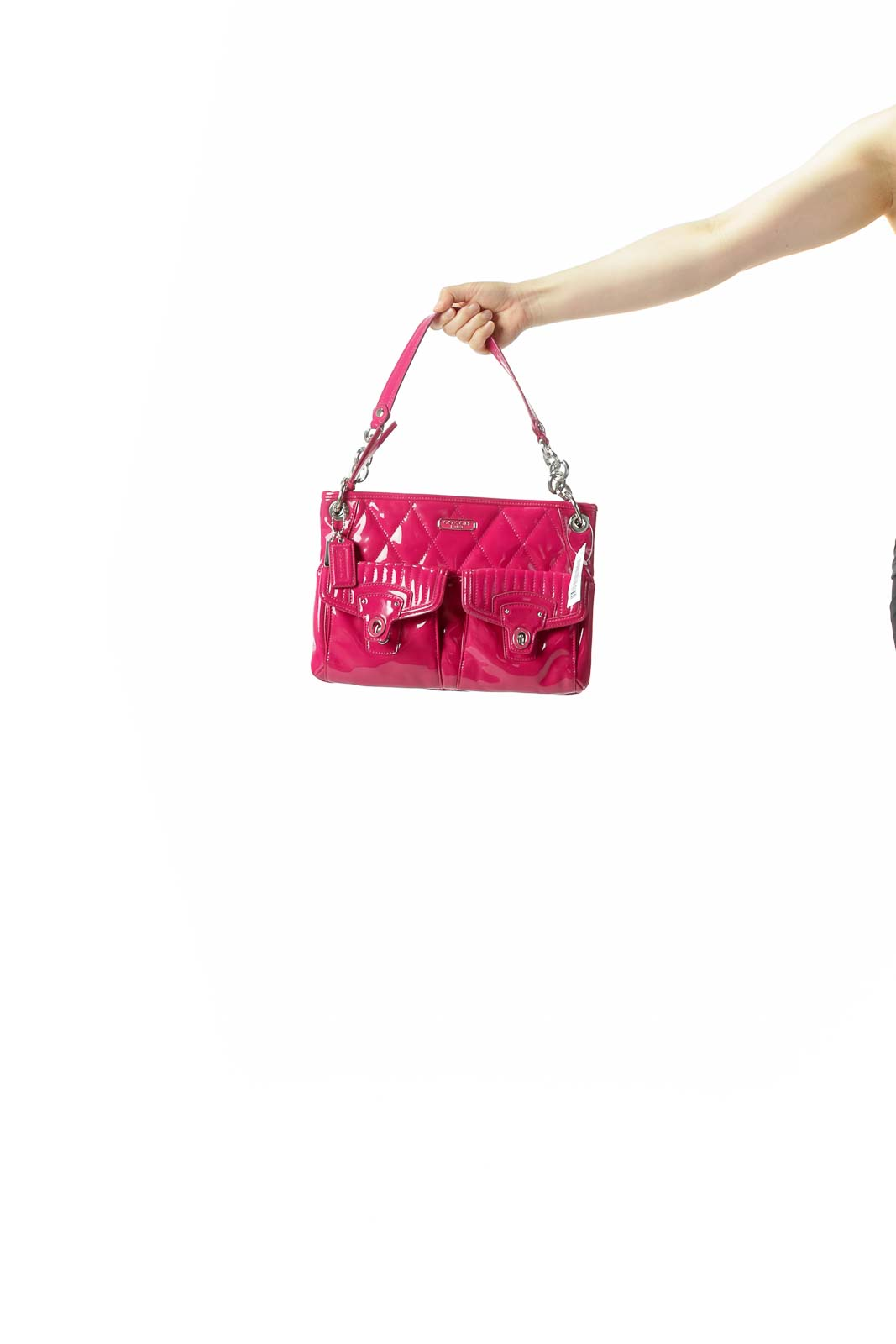 Magenta Pink Quilted Pocketed Zippered Two Straps Shoulder Bag