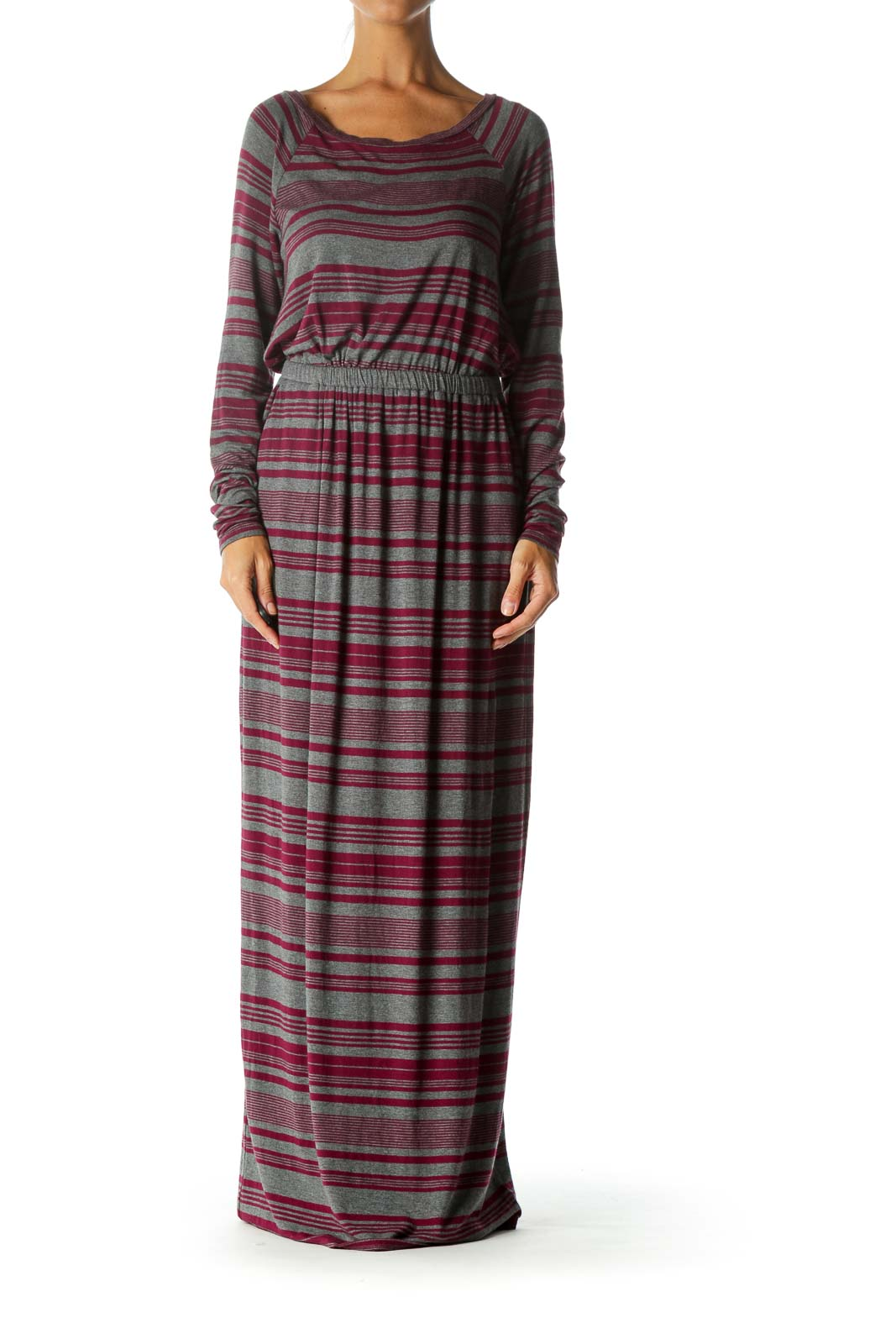 Grey Pink Stripe Maxi Day Dress