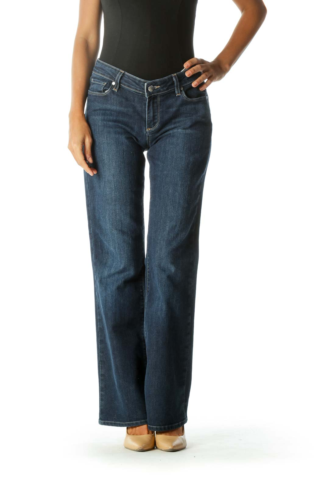 Blue Medium-Wash Bootcut Stretch Denim Jeans