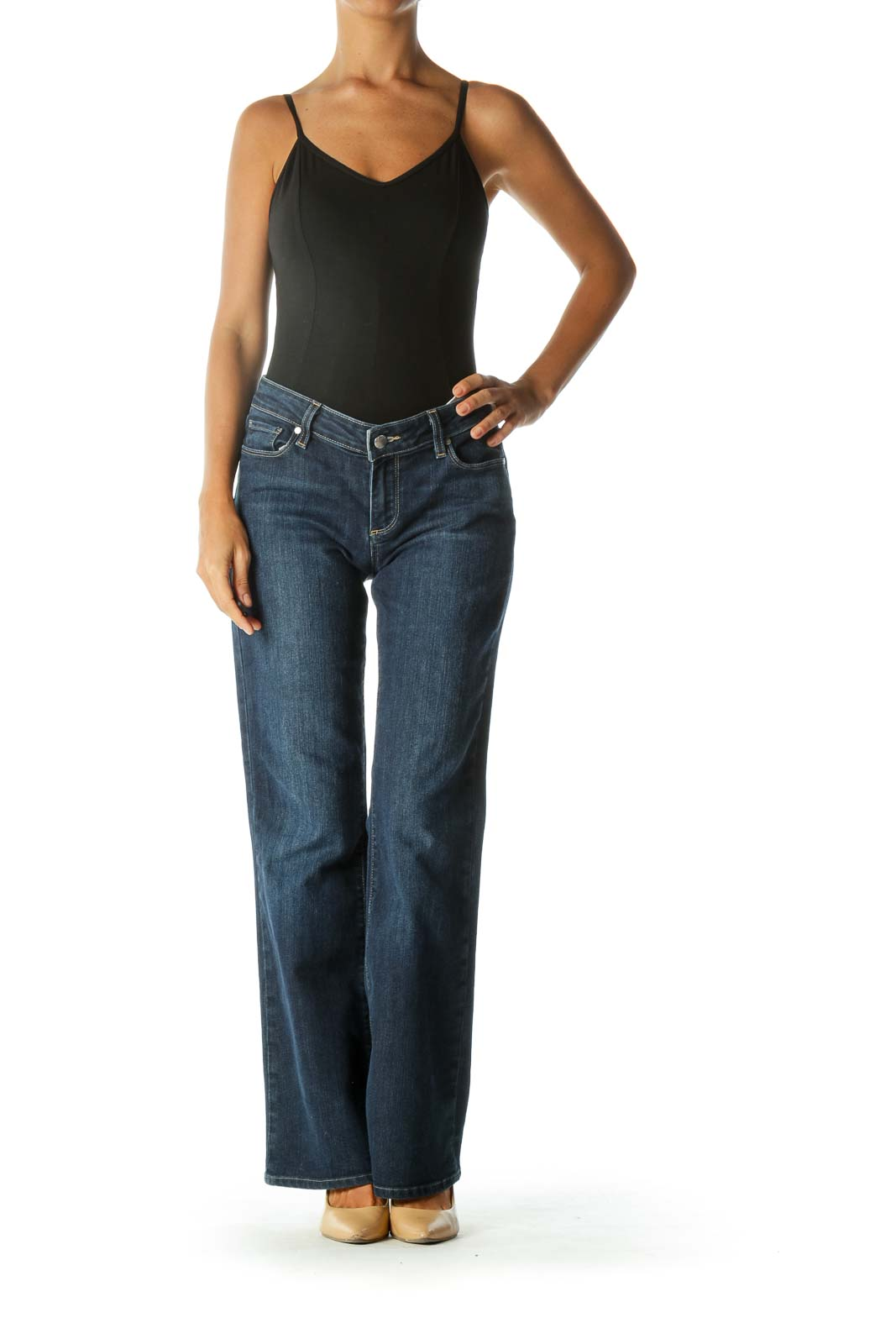 Blue Medium-Wash Bootcut Stretch Denim Jeans