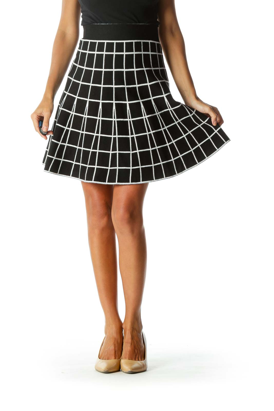 Black White Grid Print Elastic Waist Band Flared Knit Skirt