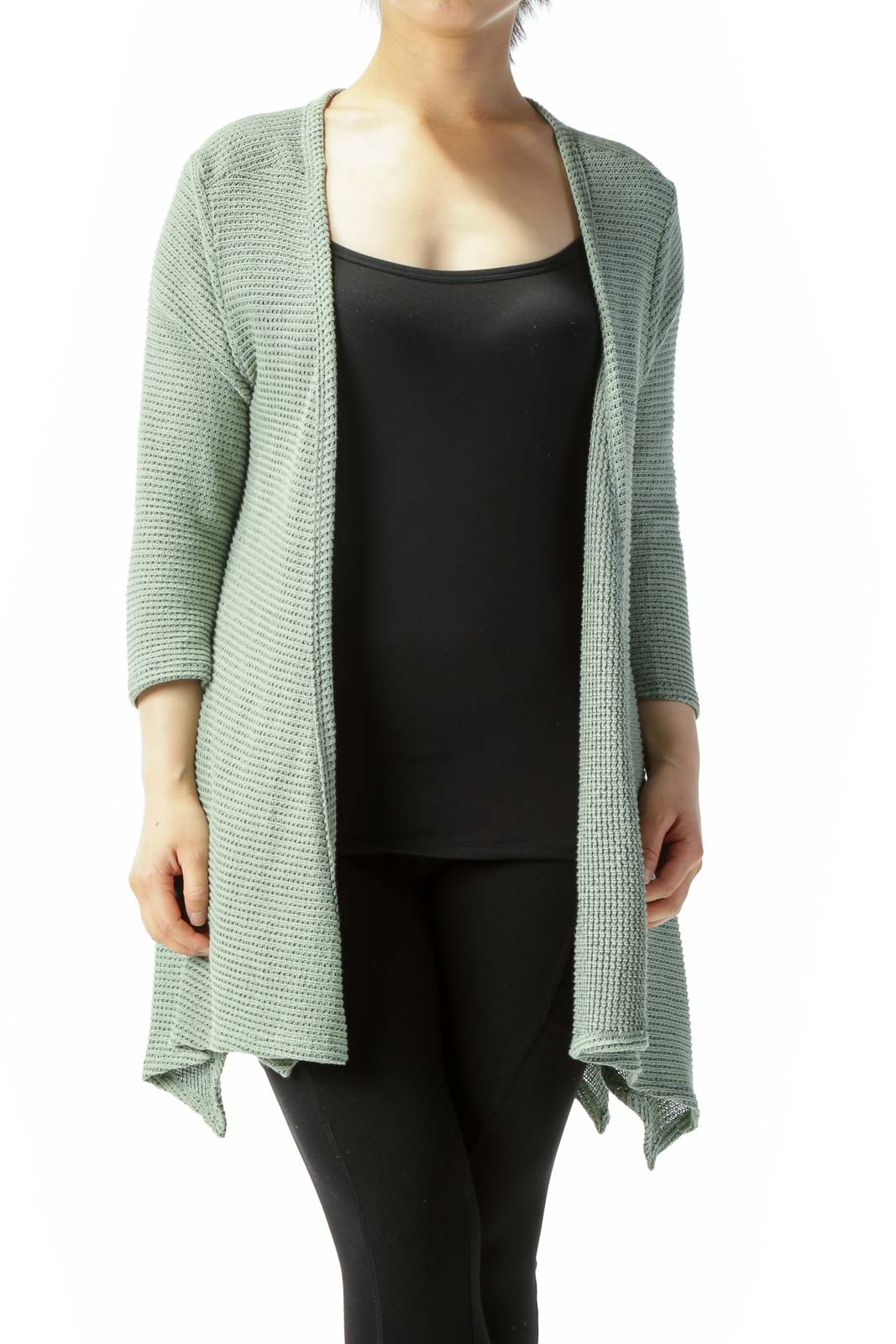 Light Green Back Buttons 3/4-Sleeve Knit Stretch Cardigan