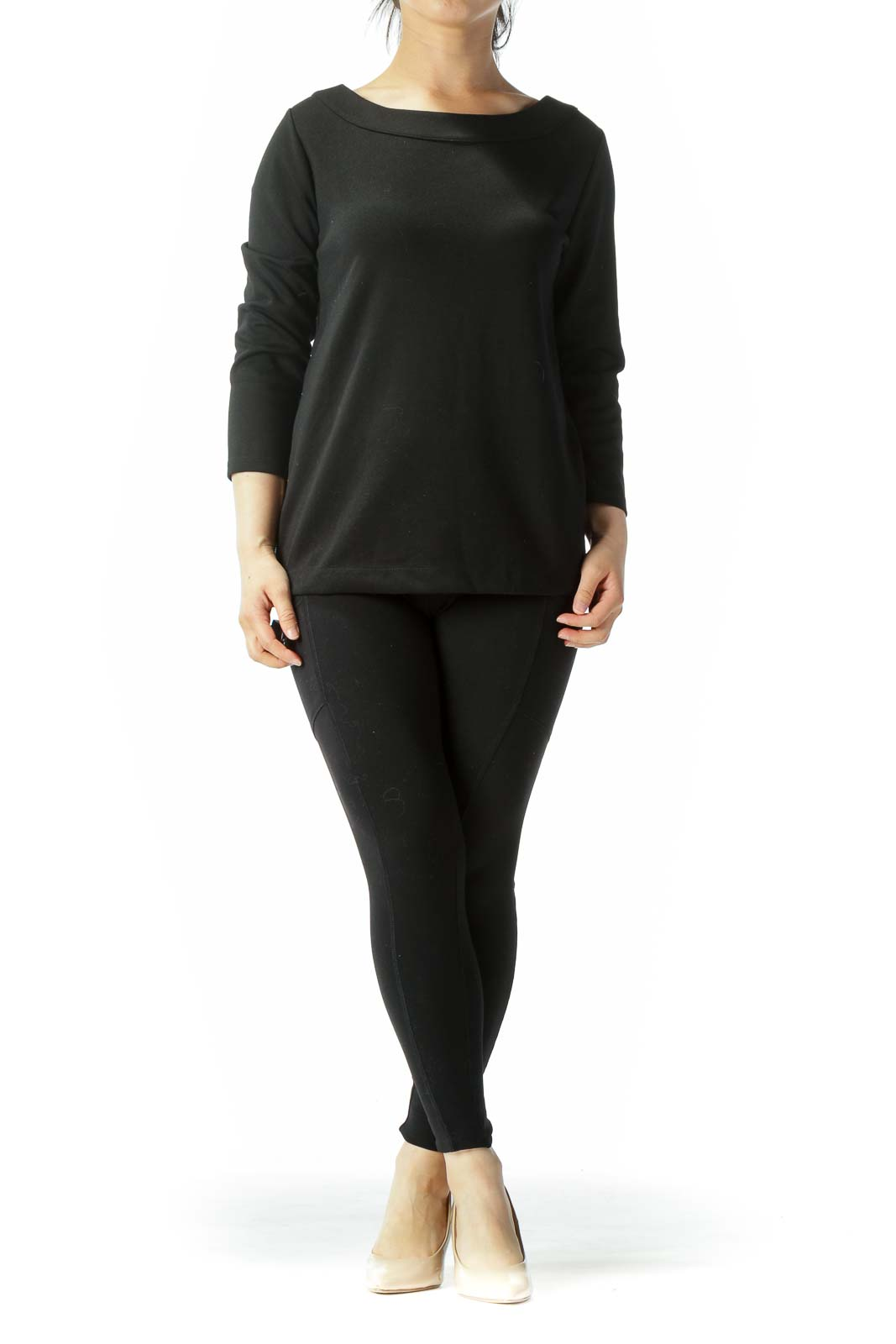 Black Side Zip 3/4 Sleeve Top