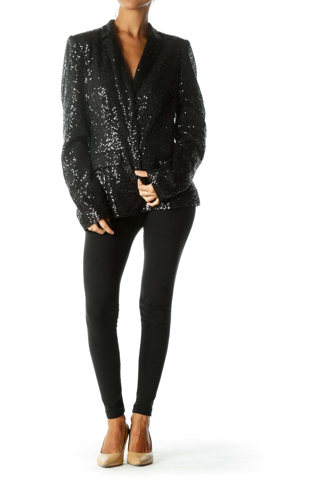 Black Sequined Body Collared Padded Shoulders Blazer
