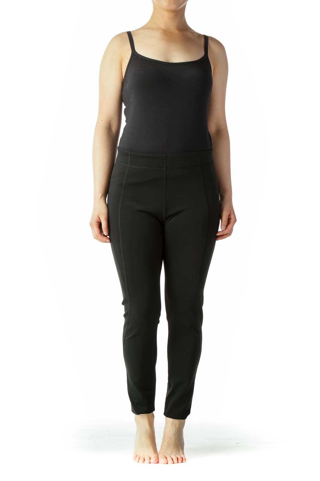 Black Elastic Waist Stretch Active Leggings