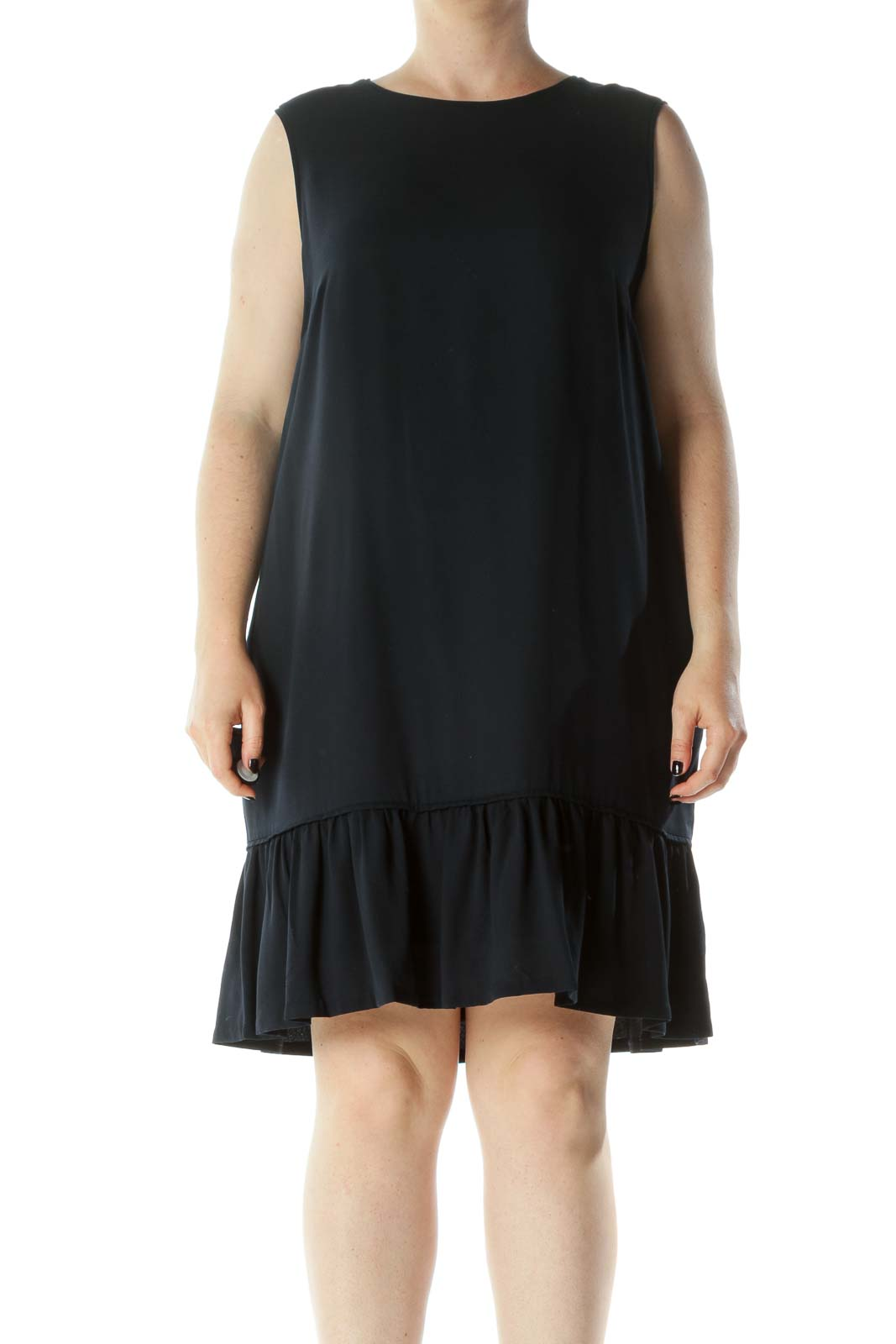 Navy Blue Round Neck Sleeveless Pocketed Flared Detail Dress