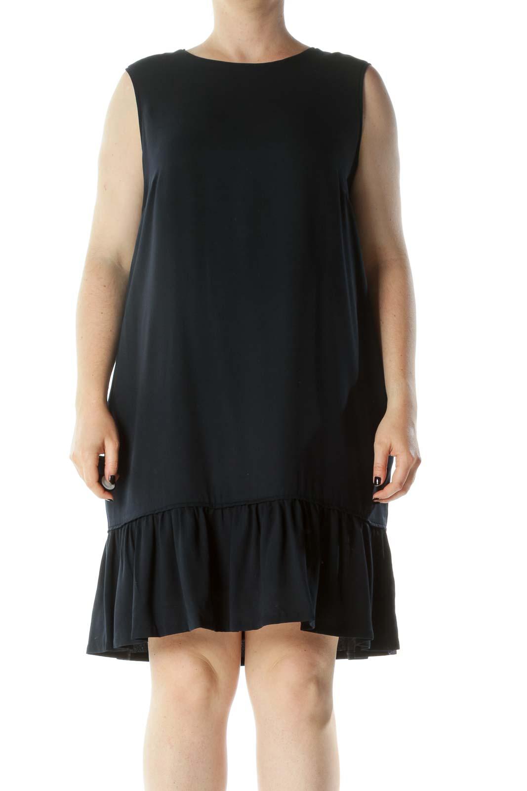 Navy Blue Round Neck Sleeveless Pocketed Flared Detail Dress