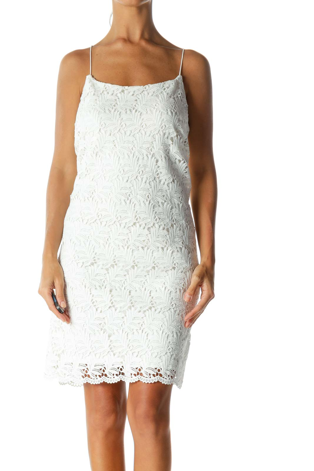 White Lace Body Knit Lined Day Dress
