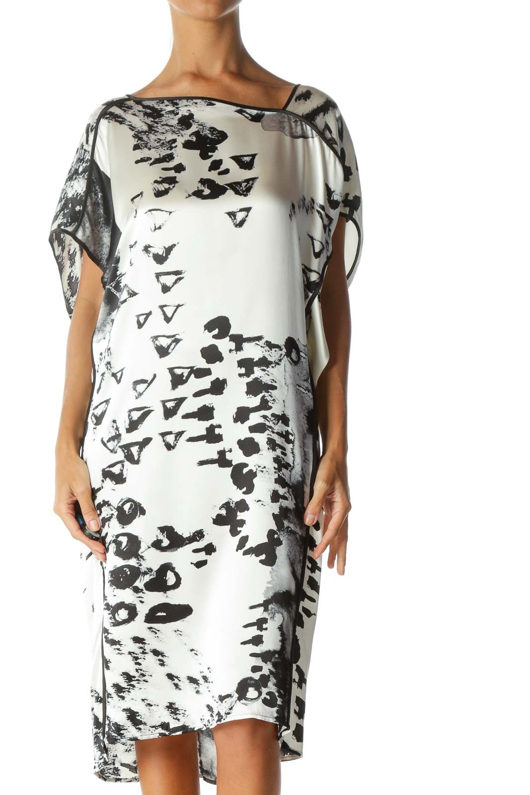 Black Cream 100% Silk Printed Asymmetric Neckline Pull-On Dress