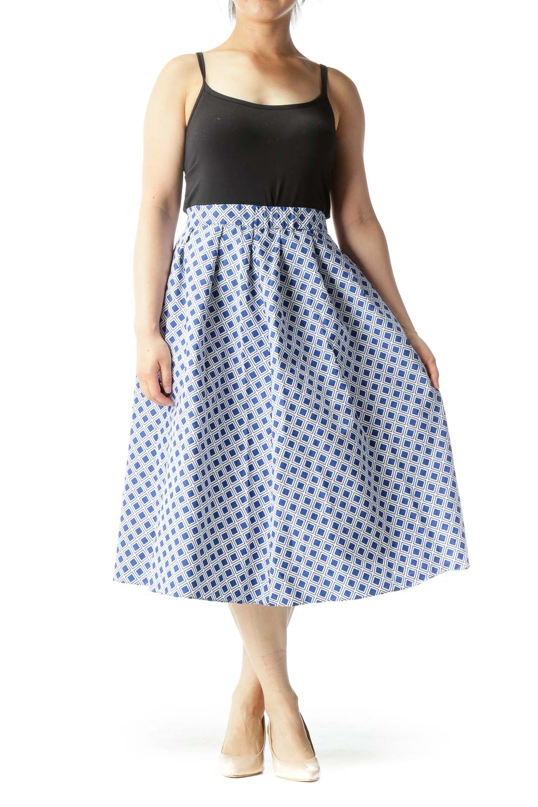 Blue White Cotton Geometric Print Elastic Waist Band Flared Skirt