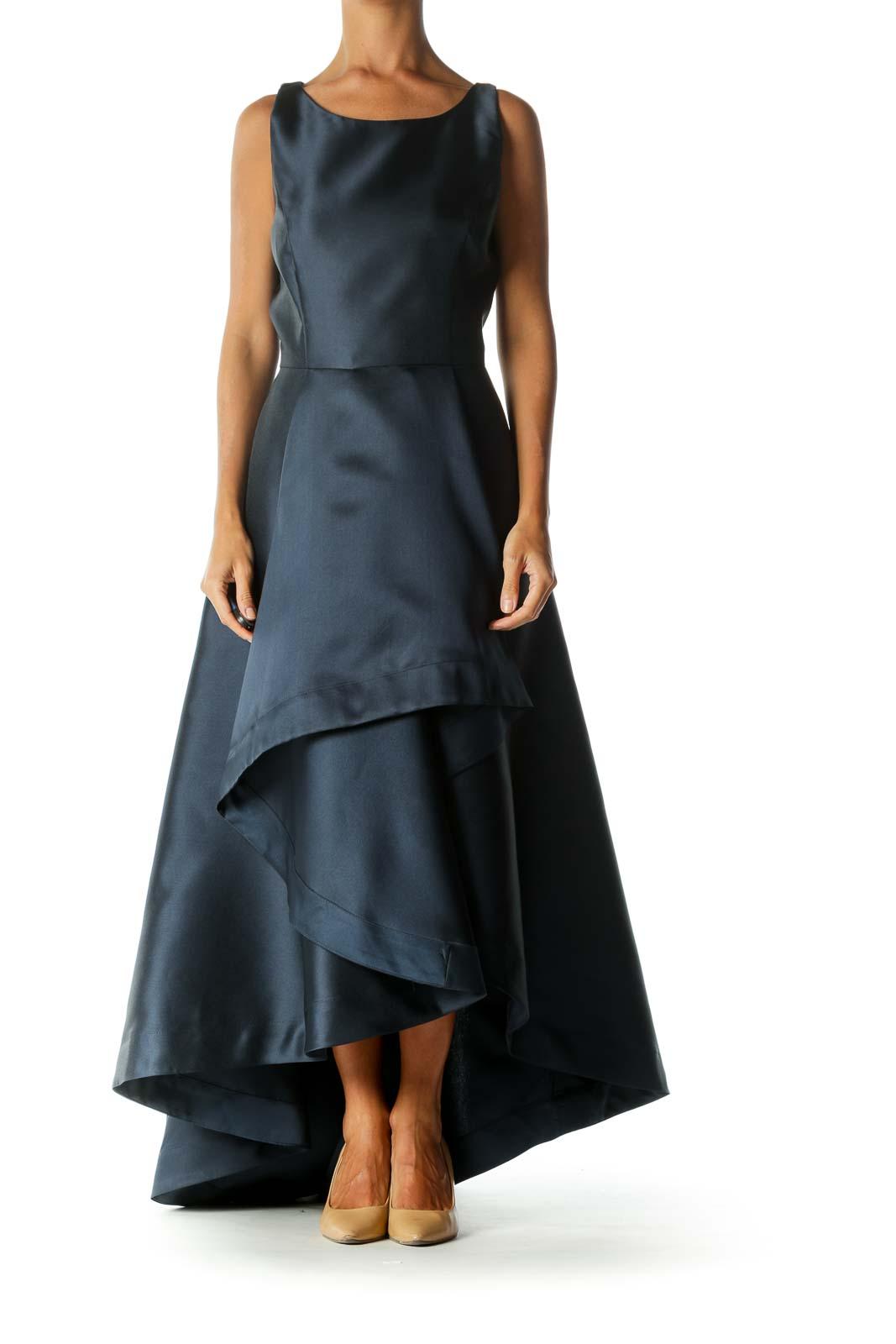 Blue Sleeveless Shiny Round-Neck High-Low Evening Dress