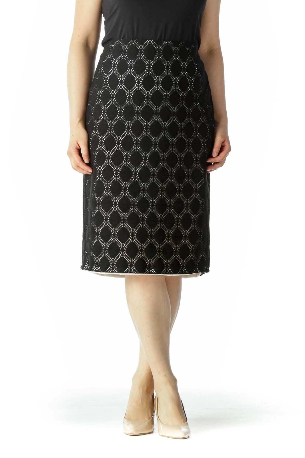 Black White Knitted Design Pull-On Skirt