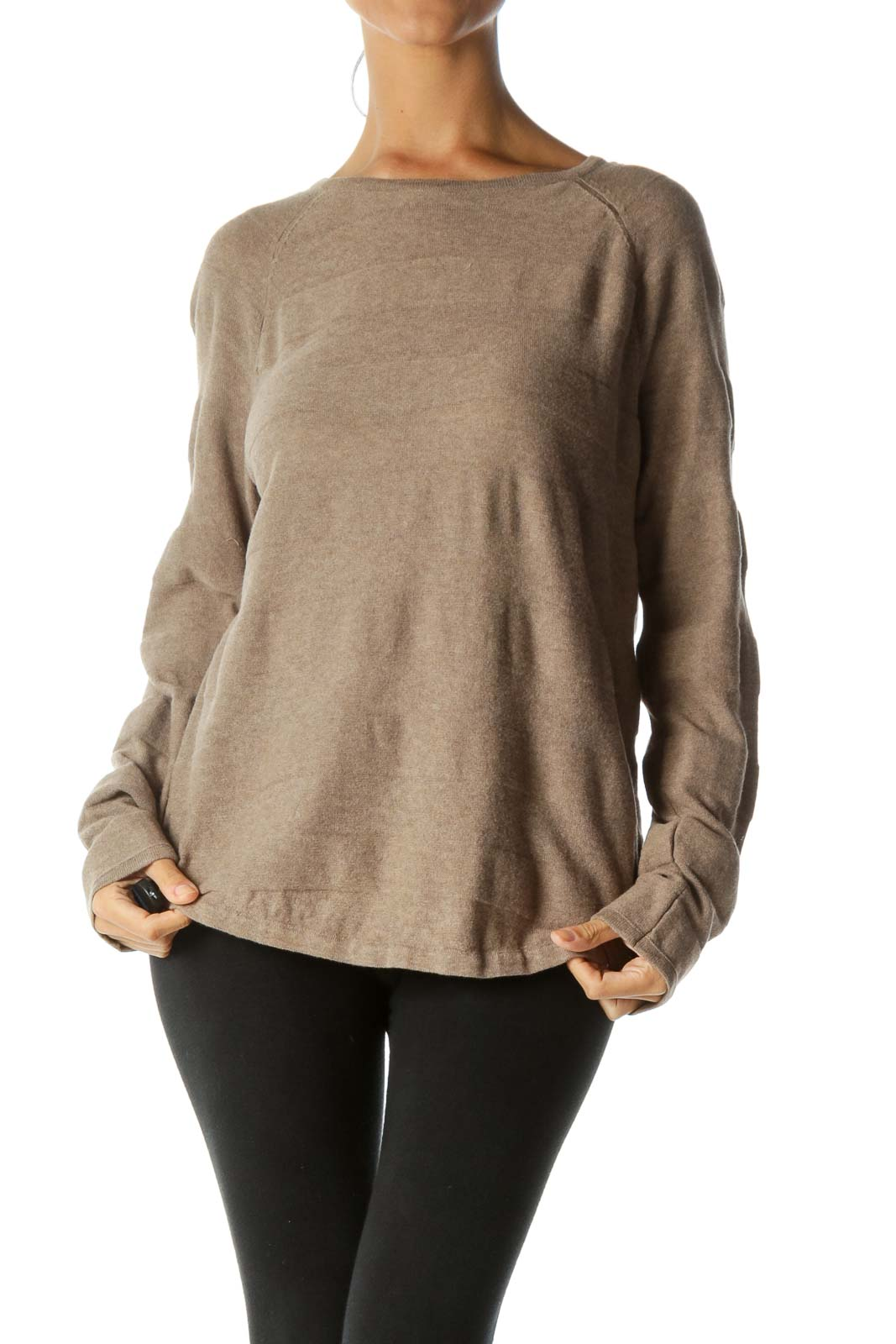 Beige Raised-Textured-Thick-Stripes Detail 100% Cotton Pull-On Sweater
