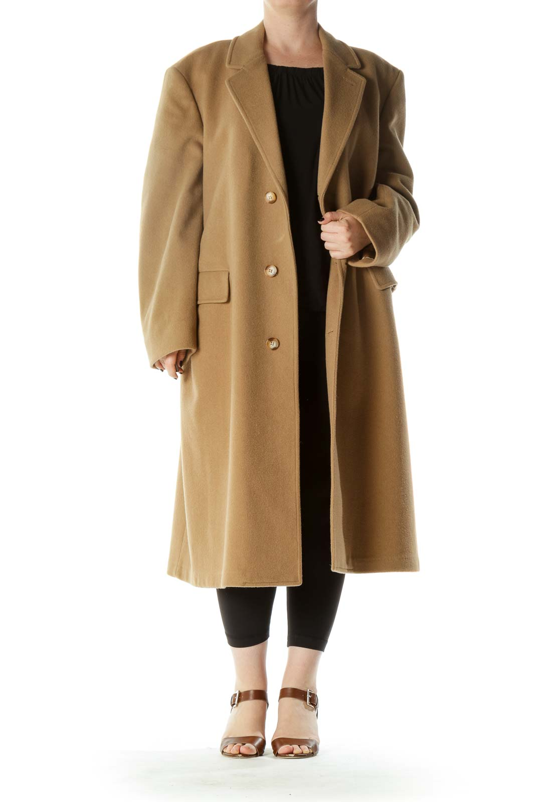 Beige 100% Pure Wool Pocketed Heavy Coat