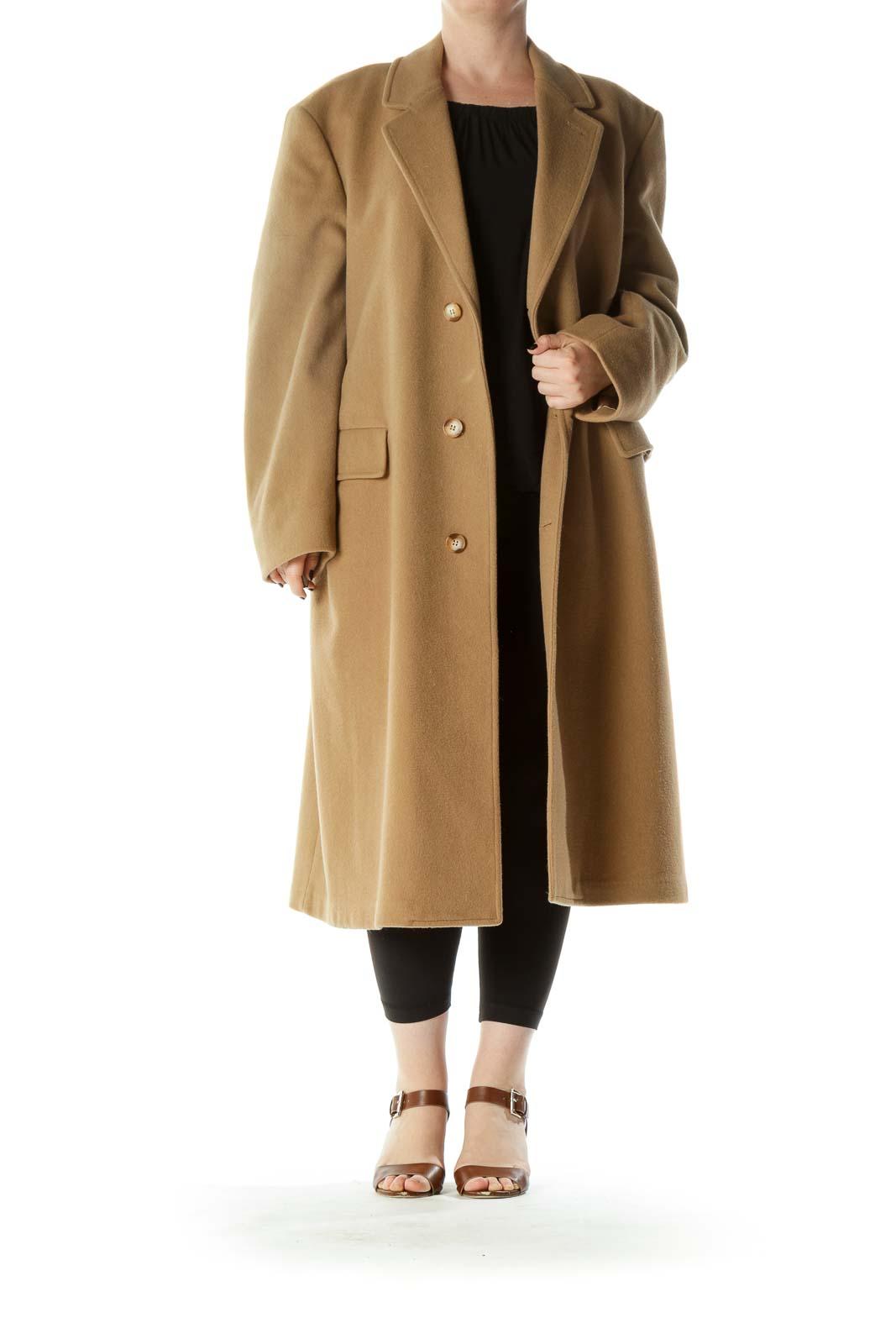 Beige 100% Pure Wool Pocketed Heavy Coat