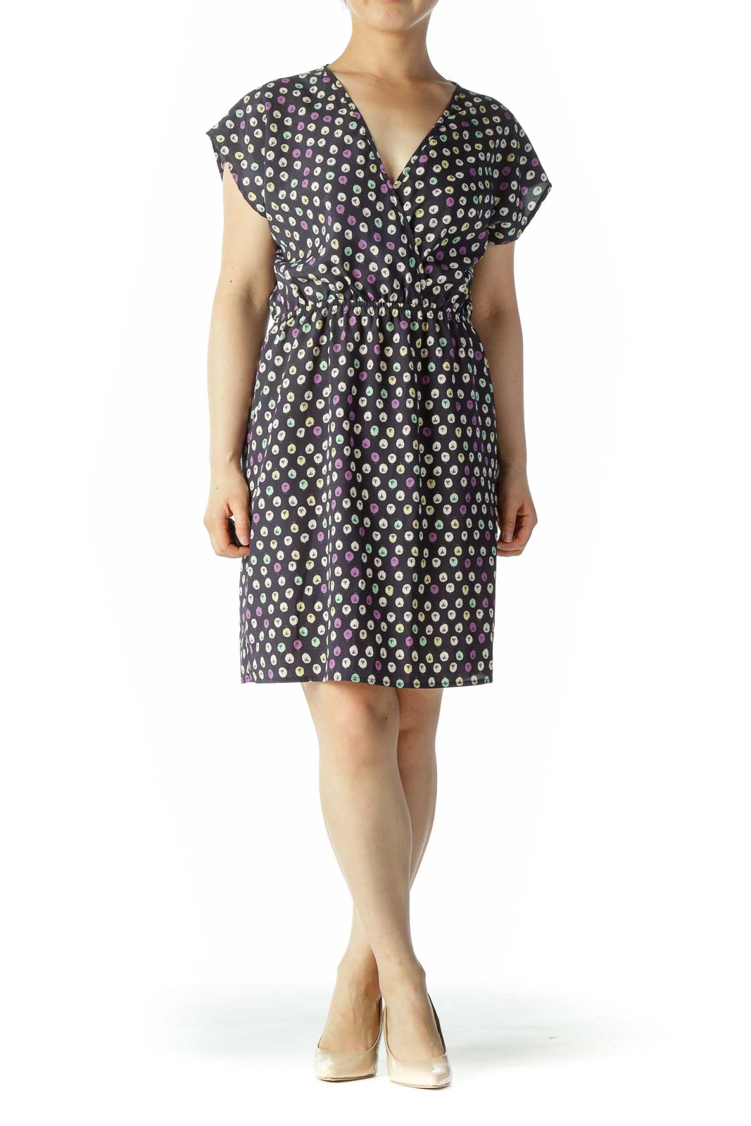 Navy Multi Pattern Vneck dress