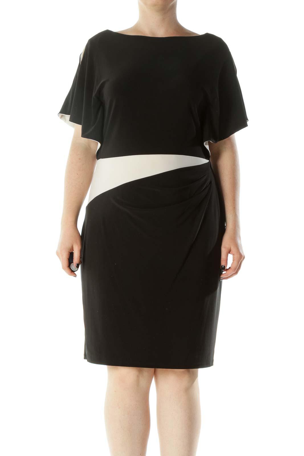 Black White Boat Neck Flared Sleeves Waist Scrunch Detail Dress