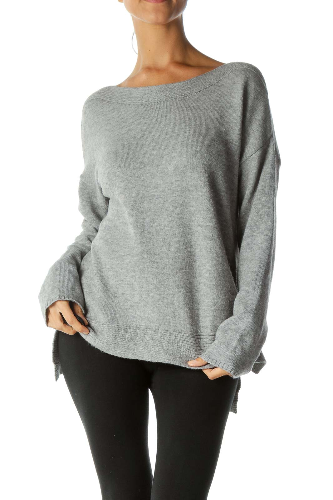 Gray Boat Neck Soft Stretch Pull-On Sweater